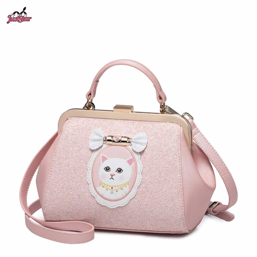 New Just Star Brand Design Sweet Candy Kitten PU Leather Women Handbag Ladies Shoulder Bags Cross body Bag For Girls just star brand new design fashion mermaid printing pu leather women ladies handbag girls shoulder bag cross body boston bag