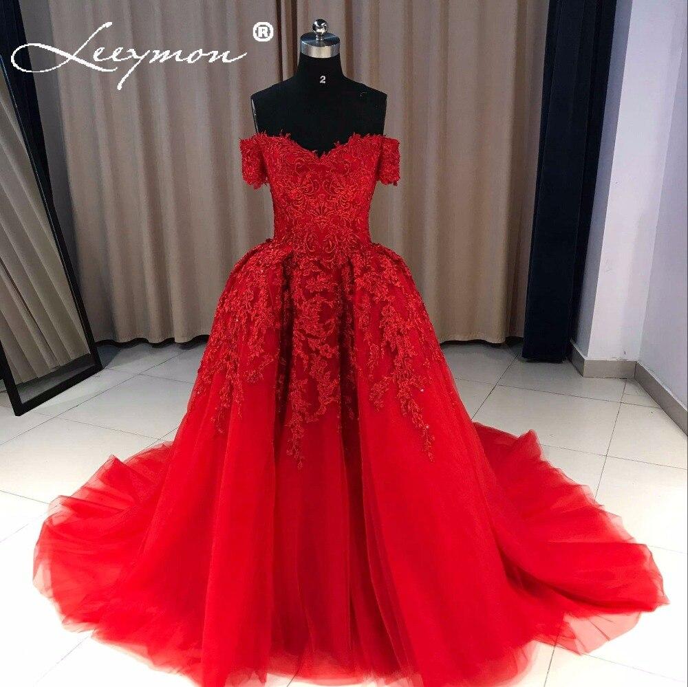 Red Evening Dress 2019 Long Sweetheart Applique Beaded Women Evening Party Dress Ball Gown Robe De