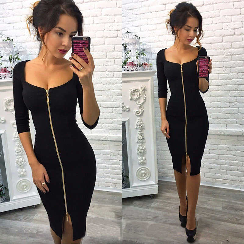 Summer Fashion Women Sexy Club Bodycon Sheath Zipper Dress Blue Red Black Knee-Length Party Office Wear Dresses Plus Size