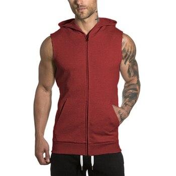 Men's Hiking Vests Sleeveless Hoodies Tank Top Sports Tactical Vest Sweatshirt Top Cardigan Waist Coat For Camping Sunning Sport 1