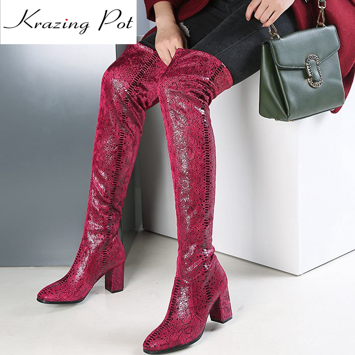 Krazing Pot stretch print boots high heels square toe original design slip on beading keep warm mature over-the-knee boots L23 slip on winter boots stretch lycra