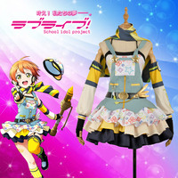 Anime Love Live! Hoshizora Rin Cos Awakening Crayon/Painter Cosplay Costume Custom Women Dress Skirt Stockings Hat Scarf Gloves
