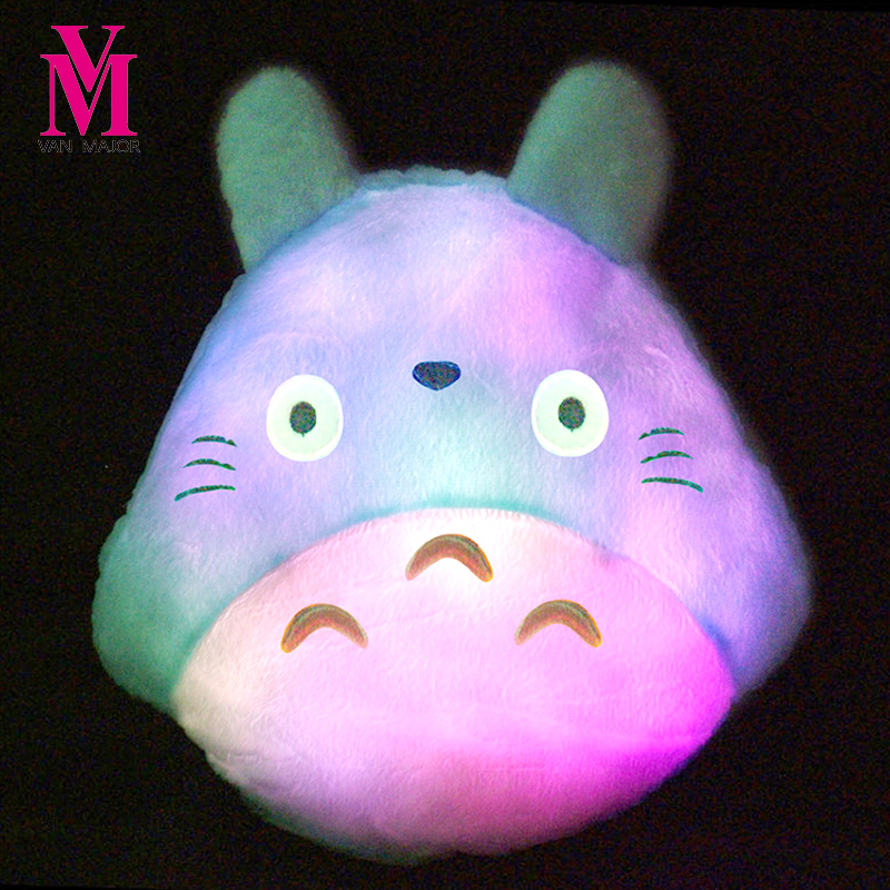 1pc 30cm*34cm New Totoro Led Luminous Plush Pillow Lovely Totoro Toy Stuffed Animal Soft Pillow Christmas Gift Birthday Gift fancytrader new style giant plush stuffed kids toys lovely rubber duck 39 100cm yellow rubber duck free shipping ft90122