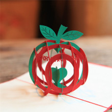 Green 3D Christmas Apple 3D laser cut pop up paper handmade postcards custom Xmas greeting cards Gifts for lover 9016G