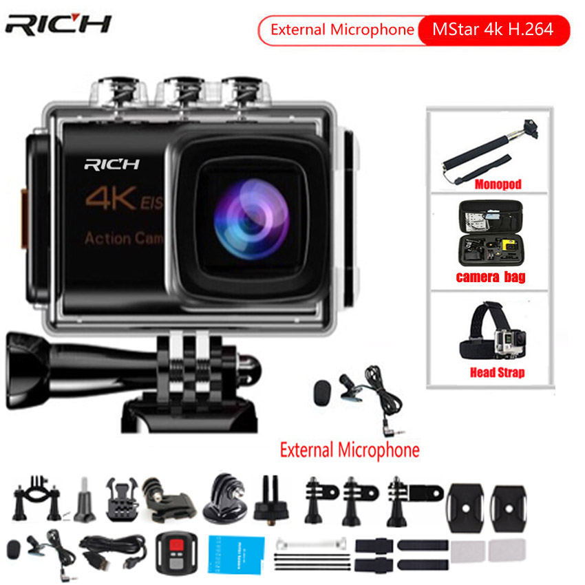 RICH Action Camera Ultra HD4k 8MP Wifi 170 degree Underwater Waterproof 30M Cam Remote Sports Camera