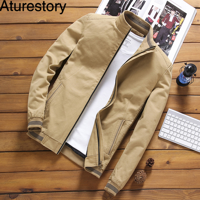 Aturestory Men Winter Bomber Jacket Mens Autumn Cotton Overcoat Male Streetwear Pure Color Casual Jackets Jaqueta Masculina 5XL