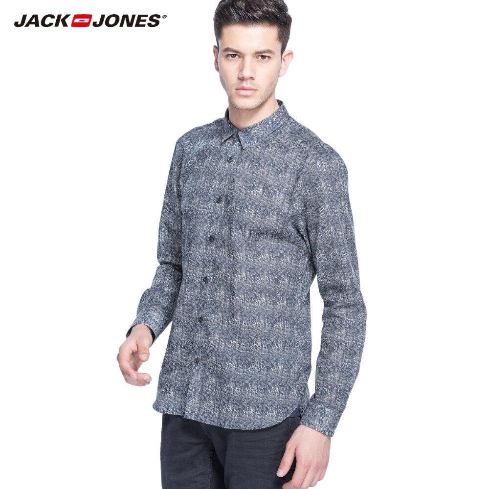 JackJones marke 100% baumwolle langarm shirts business fashion shirt kunstdruck shirts 214305004