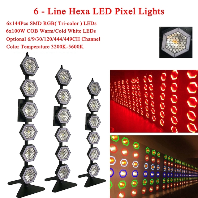 Professional Stage Light DJ Equipment 6x100W 6-Line Hexa LED Pixel Lights Stage Effect Lamp Disco Party Club DJ Strobe Lights