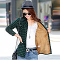 Women Winter Thick Plaid Shirt Thickness Vintage Long Sleeve Lady Warm Shirts Casual Top 100% Cotton Blouses Style Velvet S2910