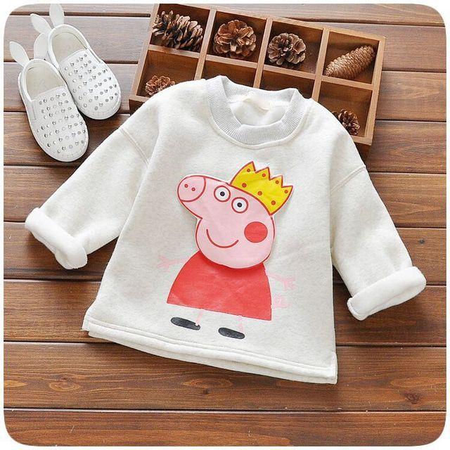 Invierno otoño primavera de manga larga camiseta para niñas raya de los muchachos camisetas tapas de los niños del cerdo de los niños sudaderas bebé clothing