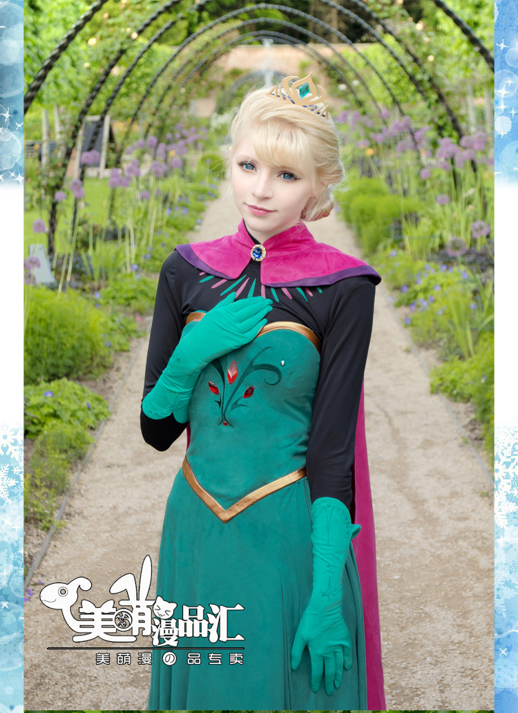 2014 Costume Adult Elsa Cosplay Elsa The Snow Queen Coronation Outfit Halloween Costume For Women Fantasy Dress Free Crown Beautiful In Colour