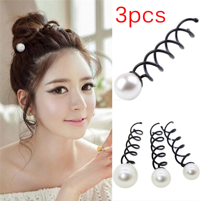 3PCSSet Women Girls Spiral Spin Hair Clips Lady Twist Barrette Imitation Pearl Screw Bobby Hair Pins