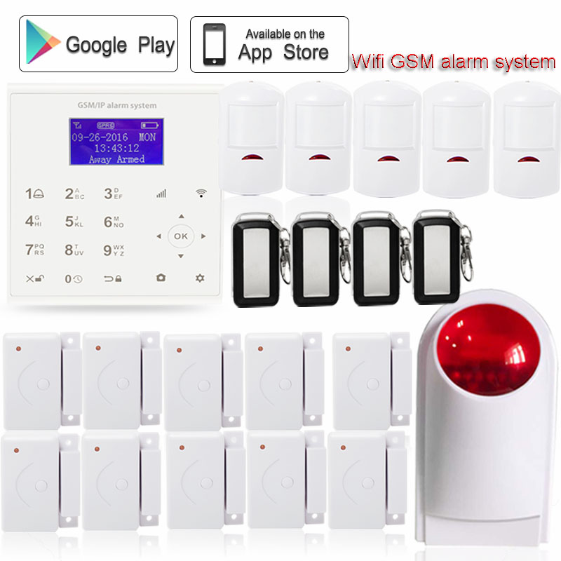 433mhz Wireless wifi alarm system gsm security home GPRS sms anti theft Android/IOS APP control infrared detector+wireless siren
