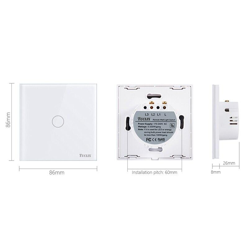 TUCLIX EU Standard Smart Wall Switch Remote Control Switch 1 Gang 1 Way Wireless Remote Control Touch Light Switch White