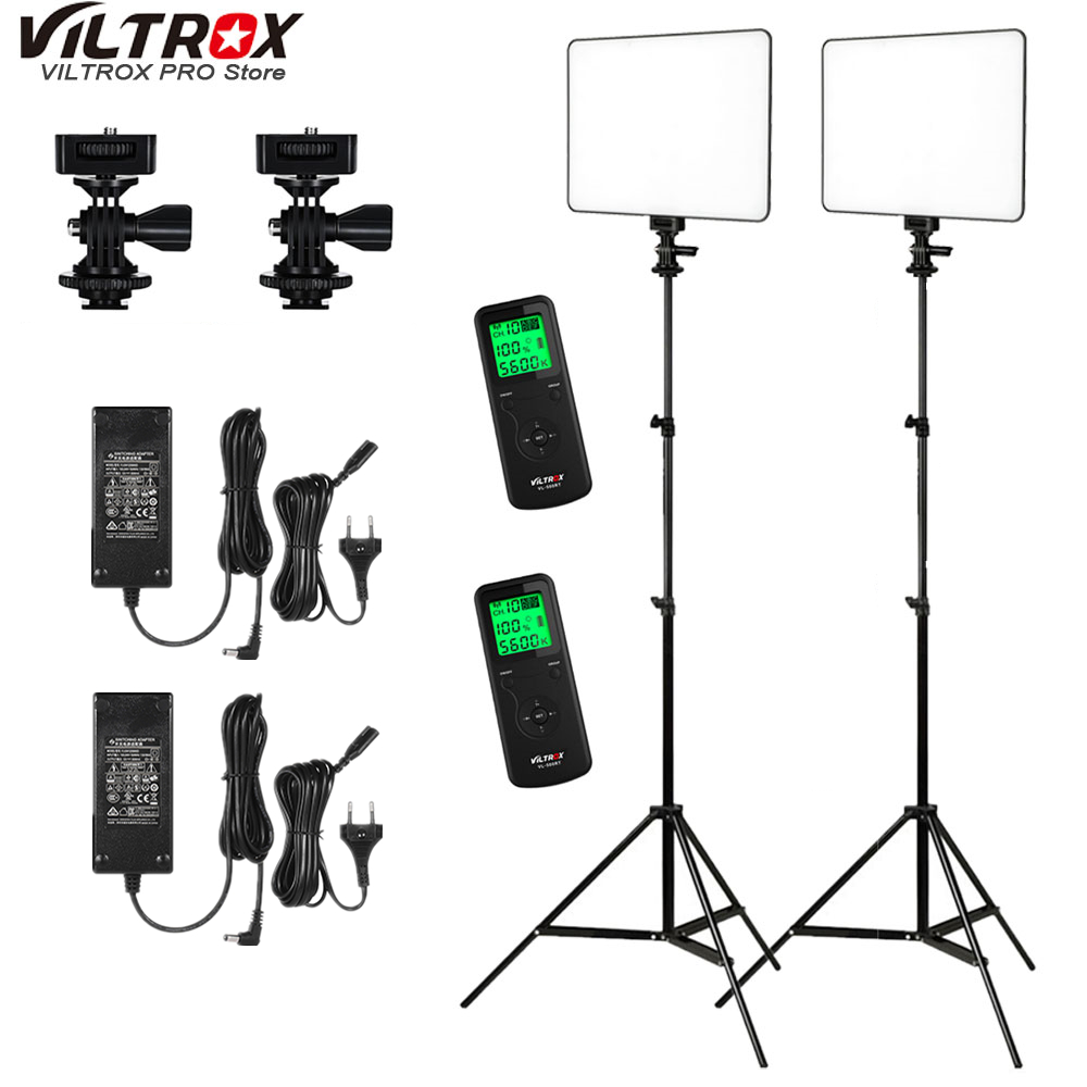 VILTROX 2x VL 200 Ultra Thin Dimmable Bi color LED Video Light Kit / 3300K 5600K CRI 95 + 2x Light Stand + 2x AC adapter-in Photographic Lighting from Consumer Electronics    1