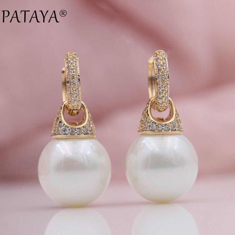 PATAYA Nouveau Micro-cire Incrustation Naturel Zircon 585 Rose Coquille D'or Perles Multifonction Balancent Boucles D'oreilles Bijoux Des Femmes De Noce
