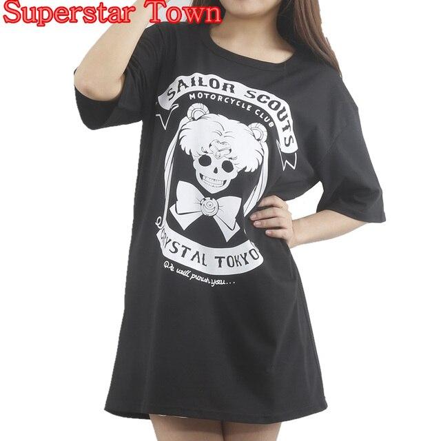 Harajuku Shirt Anime Sailor Moon Gothic T shirt Lolita Tops Tee ...