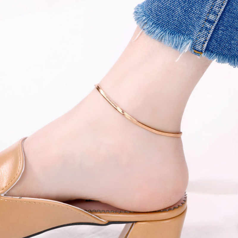 Simple Design Rose Gold No Change Color Snake Chain Anklet For Women Leg Accessories Joyas Acero Inoxidable Mujer