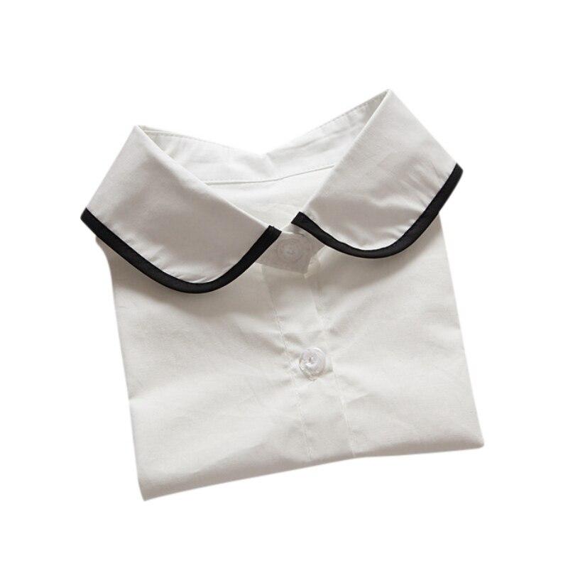 Perla Ropalia Decor Falso Desmontable Camisa Retro Peter c Blusa Pan Media Nueva De La Mujeres Más A b Collar 1ggqOn4w
