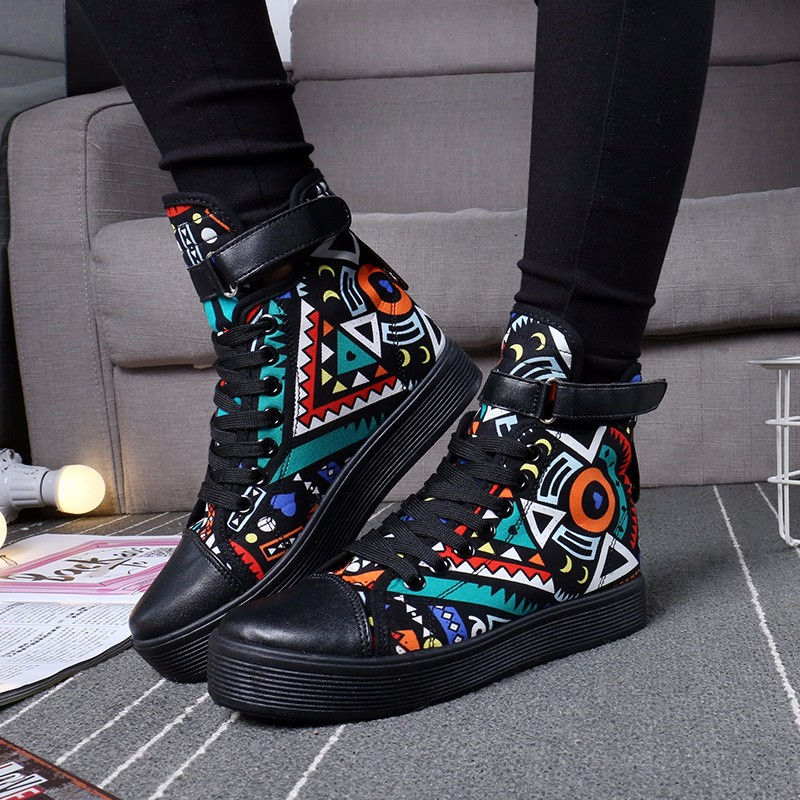 Flat Heels High Top Canvas Women Shoes Espadrilles Spring Autumn Women's Flats Lace Up Casual Shoes For Female Sapatilha YD87 (8)