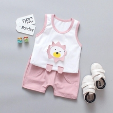 Summer Cute Cartoon Clothing Set 2PCS Kids Baby Boys Girls Vest Top Shorts Pants Set Clothes Children Pajamas Clothing Sets стоимость