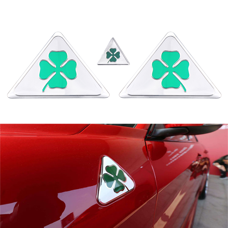 3Pcs Green Clover Delta Car Side Fender Emblem Badge Sticker For Alfa Romeo Giulietta Giulia Spider GT Car Styling Accessories