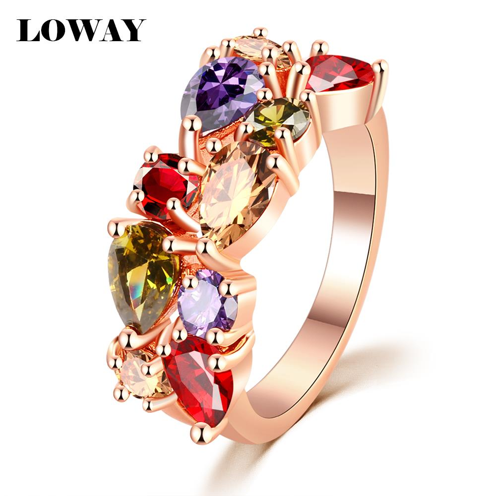LOWAY Fashion Multicolor Rings Women Anillos Cubic Zirconia 18K Rose Gold Plated Wedding Finger Ring Fine Jewelry Bague JZ5900