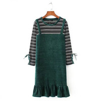 Winter Autumn Dresses Green Color Long Sleeve Casual Loose Dresses O Neck Corduroy Dress A Line