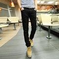 Envío Gratis 2017 Marca Nueva Primavera de Los Hombres Masculinos Pantalones Flacos de Los Hombres Pantalones Lápiz Pantalones Pantalones Hombre Solid 12 Colores