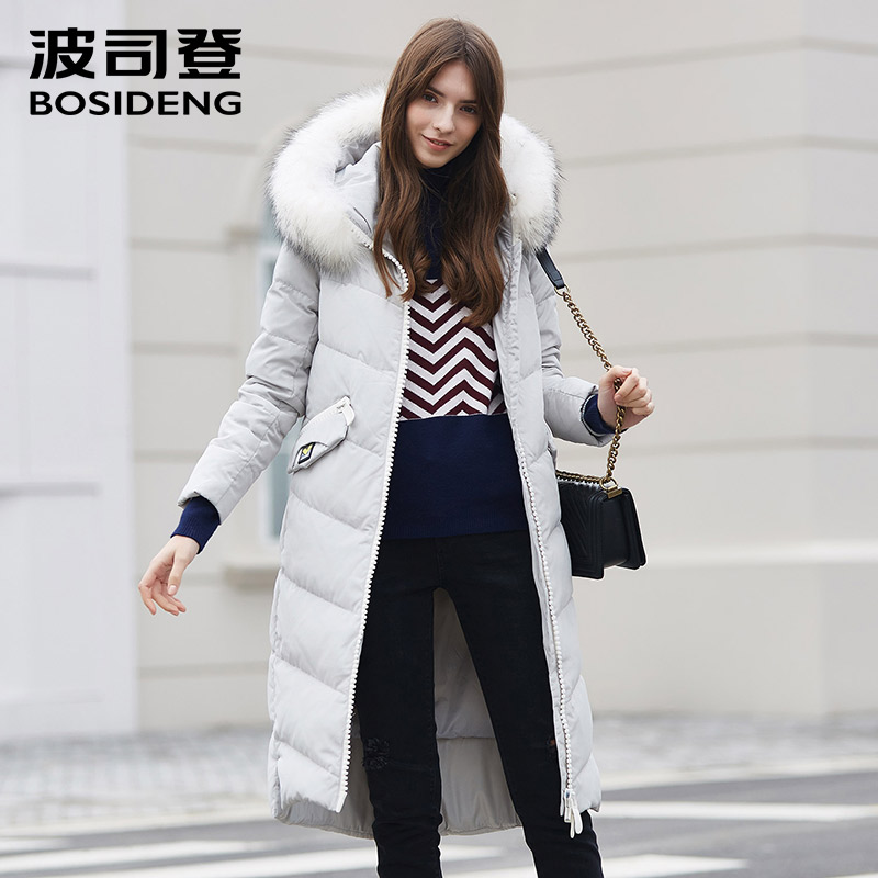 BOSIDENG new winter   down   jacket for women   down     coat   X-long   down   parka natural fur collar vogue pocket overknee B1601136