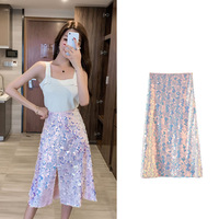 Women Mesh skirts 2019 Summer Fashion Sparkling Sequined Pencil Skirt midi falda mujer jupe crayon femme