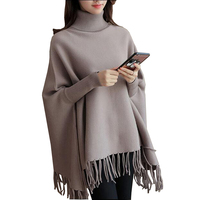 2017 New Spring Autumn Winter Sweater Women Batwing Sleeve Knitted Pullovers High Collar Loose Solid Color