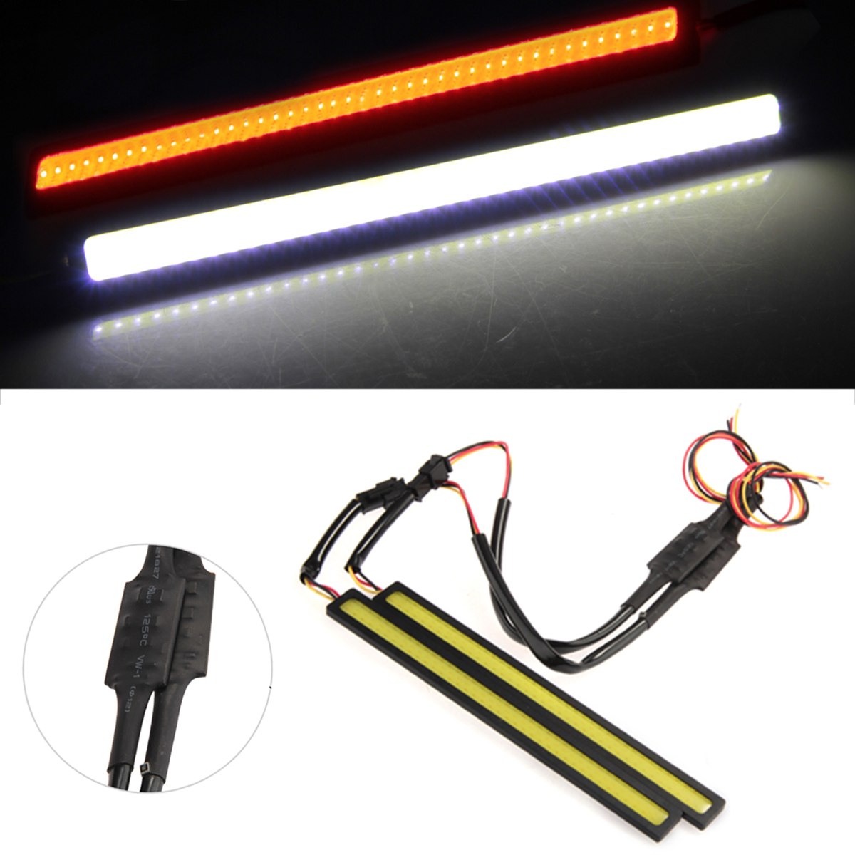 2W COB LED Daytime Running Lamp Light DRL Car Truck Driving White + Yellow Color накладной светильник 018861 arlight