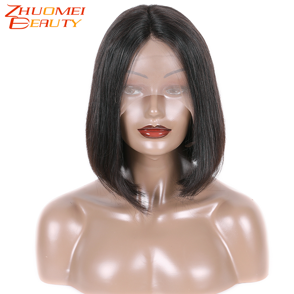 Zhuomei Beauty 13*4 Bob Wig Brazilian Straight Short Lace Front 130% Human Hair Wigs For Women Pre Plucked With Baby Hair 150% Density Remy Hair Wig