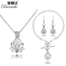 Lowest Price Oriental Lotus Pearl Cage Locket Set(1 Cage Necklace, 1 Chain Bracelet, 1 Drop Earring)Valuable Women/Girl's Gifts(China)