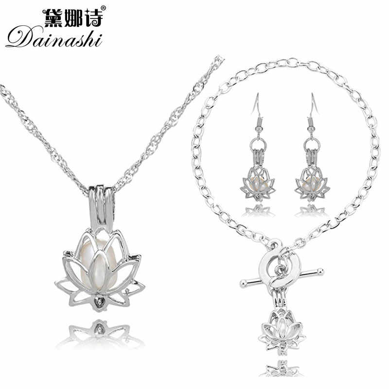 Lowest Price Oriental Lotus Pearl Cage Locket Set(1 Cage Necklace, 1 Chain Bracelet, 1 Drop Earring)Valuable Women/Girl's Gifts