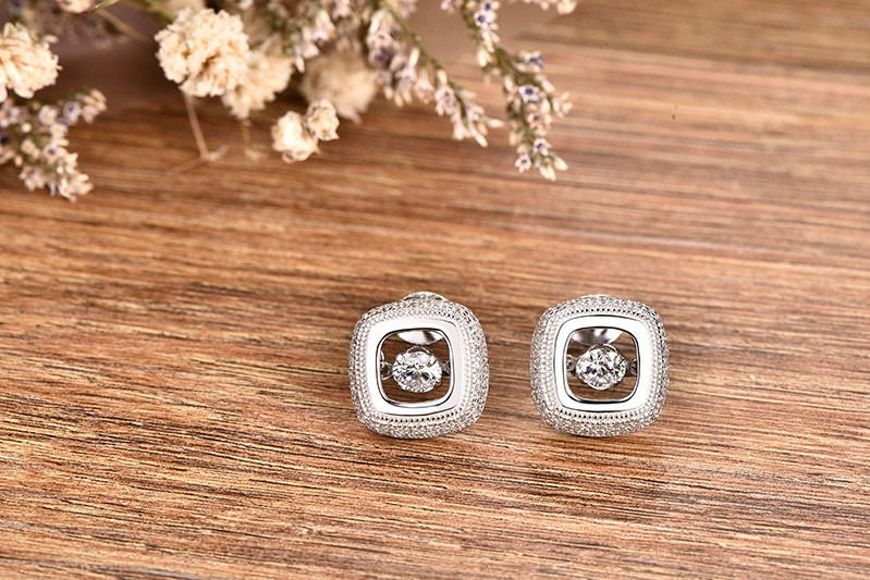 Square White Gold Plated Stud Earrings Dancing CZ diamond Jewelry AAA Wedding Vintage Jewelry for Women (1)