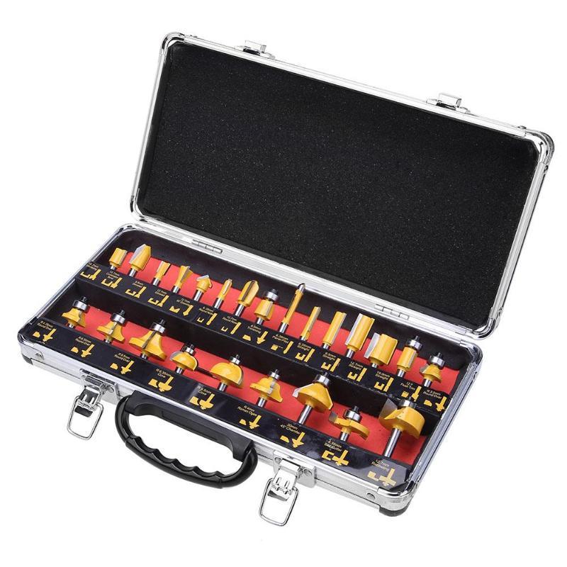24 pçs/set Profissional Kit Fresa Carboneto de Tungstênio Router Bits Para Trabalhar Madeira Ferramenta de Moagem Router Cortador Conjunto de Alta Qualidade