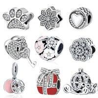 Fit Pandora Charm Original Bracelet Silver 925 2016 Autumn Winter DIY Berloque Enamel Poetic Bloom With