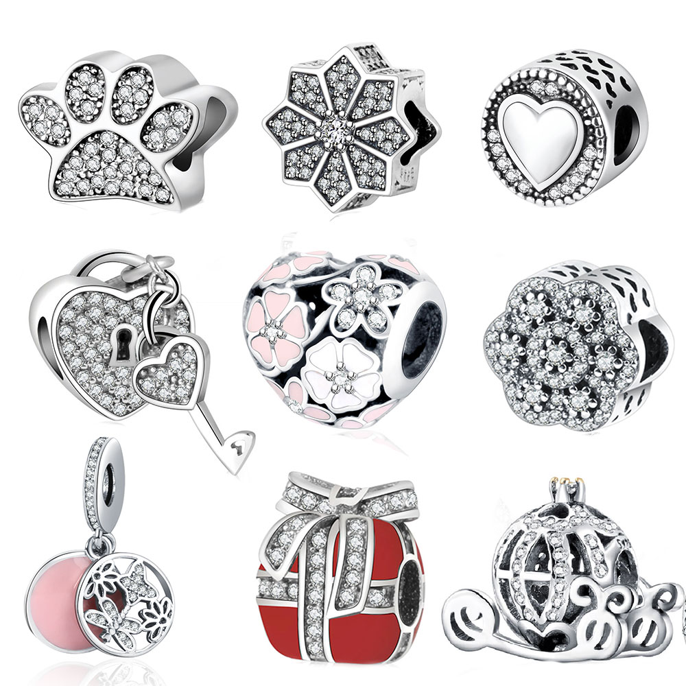 Fit Pandora Charm Original Bracelet Silver 925 2016 Autumn Winter DIY Berloque Enamel Poetic Bloom With Zircon Flower Heart Bead