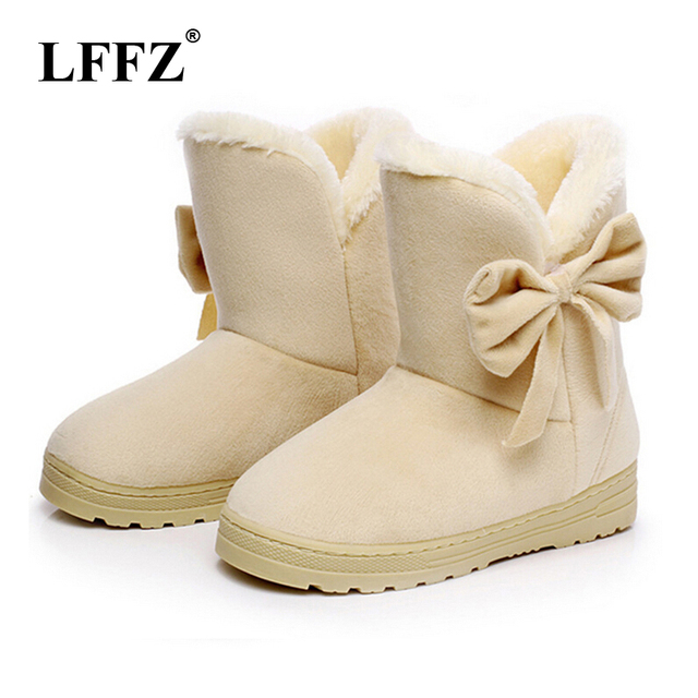 LFFZ 2018 Women Snow Boots Cute Bowtie Warm Fashion Snow boots women winter shoes butterfly dropshipping factory Cheap ST217