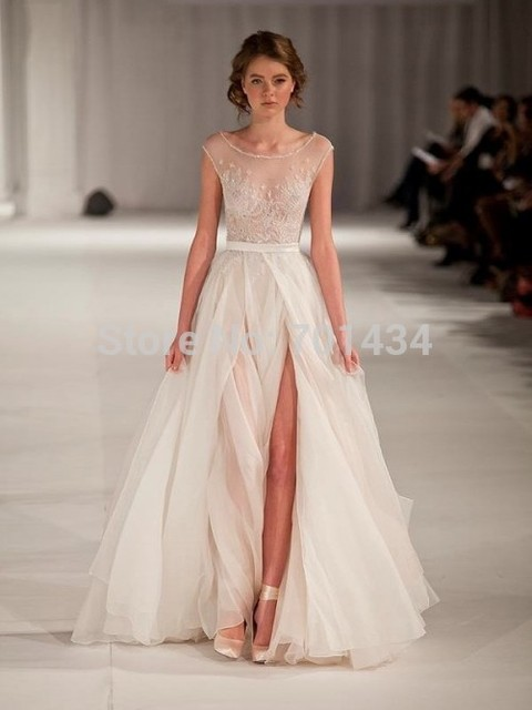 A Line Sheer Bodice Scoop Sleeveless Appliqued A line Floor Length ...