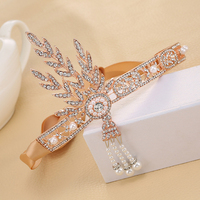 Vintage Wedding Hair Accessories 1920s Great Gatsby Headbands Crystal Rhinestone Leaf Headpieces Bridal Pearl Rose Gold