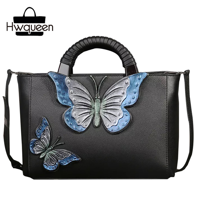 ccc7b184450 Unique Butterfly Designer Wooden Handle Ladies Large Handbag First Layer  Genuine Leather Ladies Black Purse Cross Shoulder Bag
