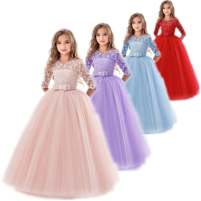 Kids Flower Girls Wedding Dress For Girl Party Dresses Lace Princess Summer Teenage Children Princess Dress 8 10 12 14 Years