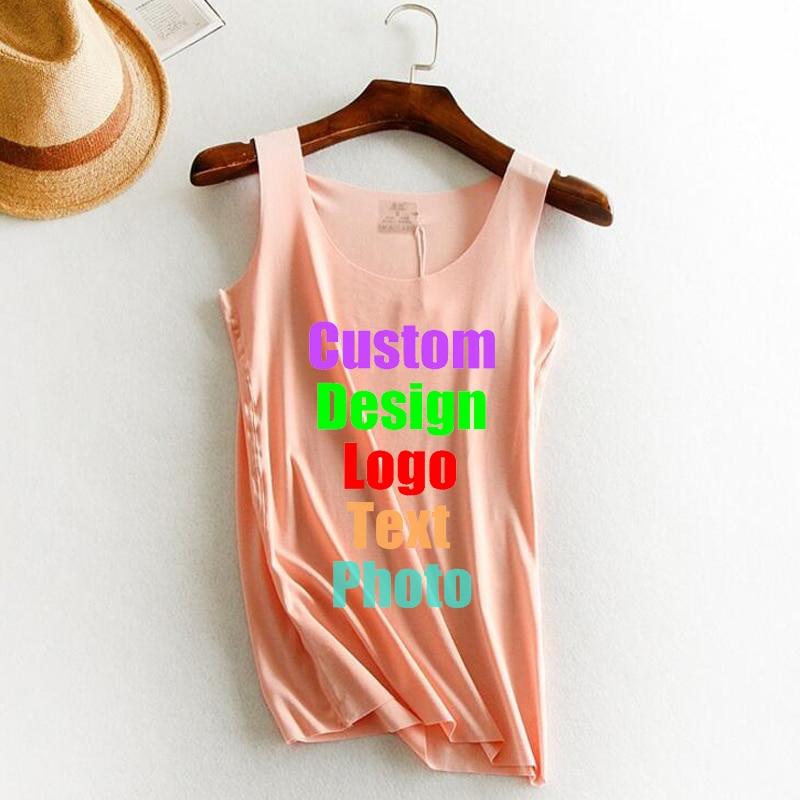 Custom Made Photo Logo Text Printed Women   Tanks     Top   Plus Size 2XL elastic Female Sleeve Tees Shirts U Neck Girl   Tank     Tops   Vests