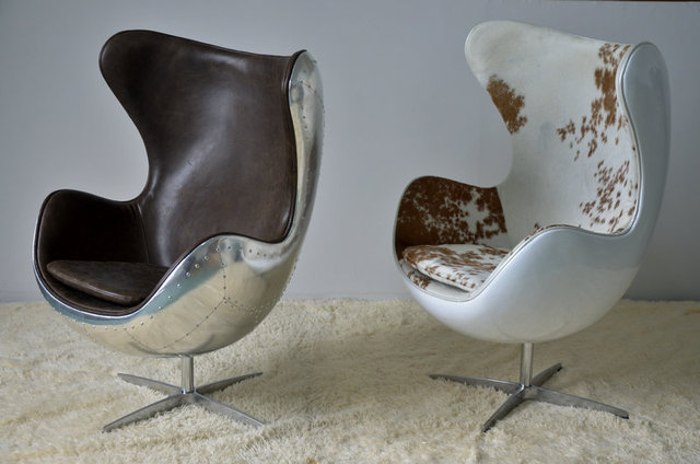 Retro Nostalgia Space Aluminum Furniture Handmade Leather Sofas DOB Aluminum  Fiberglass Egg Shell Chair Specials