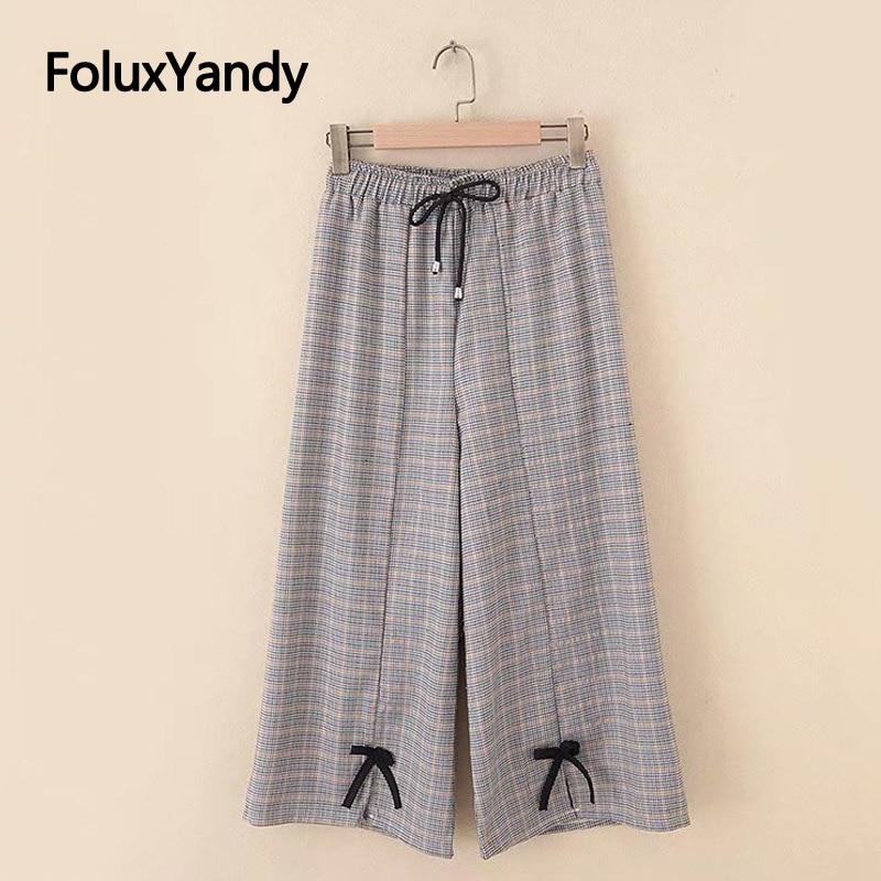 Plaid Cotton and Linen Casual   Pants   Women Trousers Plus Size XXXL 5XL Elastic Waist Lace Up Loose   Wide     Leg     Pants   KKFY3449