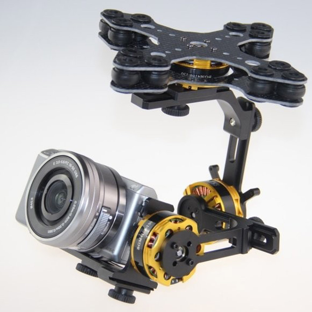 DYS 3 axis brushless gimbal W/32 bit Alexmos Controller BGC DYS 4108 motor for Panasonic S ony Nex5, Nex7 FPV aerial photograph free shipping 32 bits controller dys dslr handheld brushless gimbal with joystic and new 6080 motor