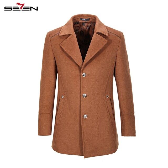 Seven7 Brand Winter Coats Warm Coats Jackets Wool Blends Men Overcoat Plus Size Turn Down Collar Coats 109K20370